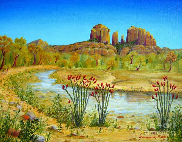Sedona Poster featuring the painting Sedona Arizona by Jerome Stumphauzer
