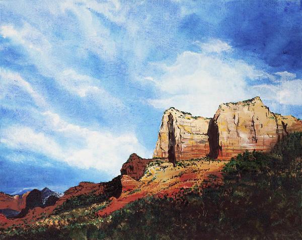Sedona Arizona Poster featuring the painting Sedona Mountains by Mary Palmer