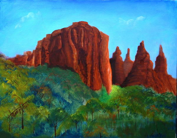 Arizona Poster featuring the painting Sedona Red Rocks by Jack Hampton