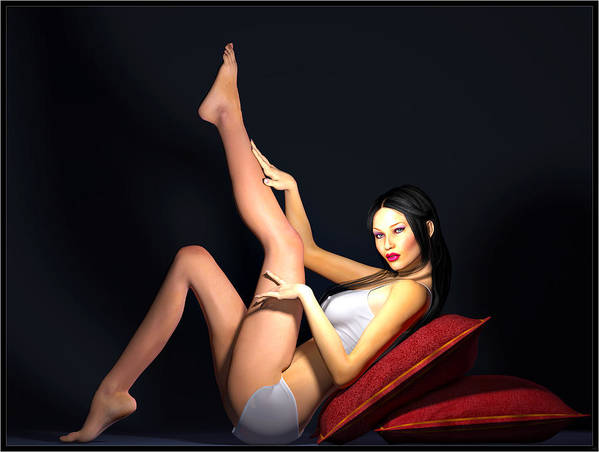 Portrait Poster featuring the digital art Seductress... by Tim Fillingim