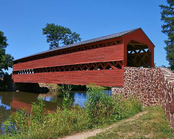 Sachs Covered Bridge Poster featuring the photograph Seeing Red by Lanis Rossi