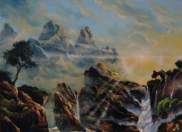 Rocks Poster featuring the painting Seeing The Face Of God by Marco Antonio Aguilar