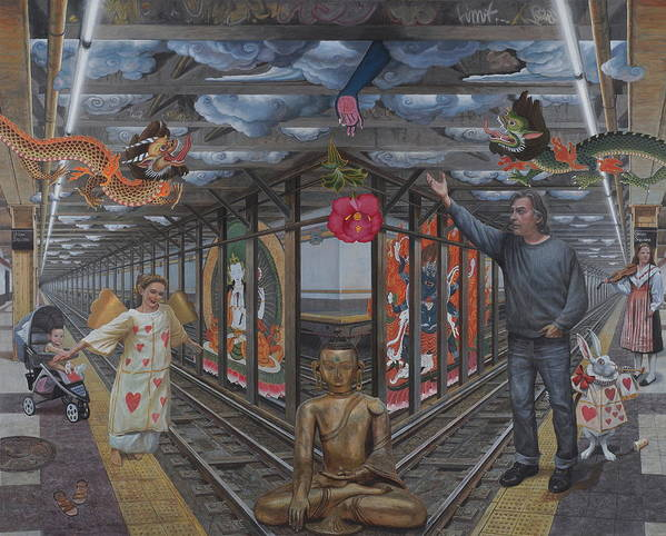 Subway Poster featuring the painting Self Portrait At 14th Street Station by Alfredo Arcia
