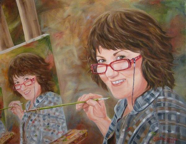 Portrait Poster featuring the painting Self Portrait by Cynthia Snider
