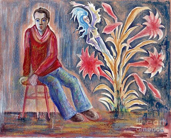 Self-portrait Poster featuring the painting Self-portrait by Milen Litchkov