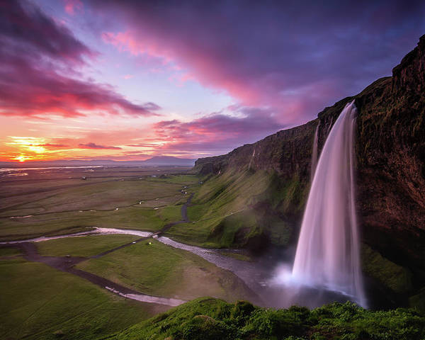 417415718ac9c South Central Iceland Poster featuring the photograph Seljalandsfoss  Waterfall Midnight Sunset by Sandro Bisaro