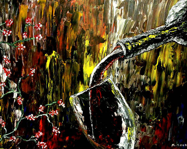 Wine Poster featuring the painting Sensual Moments by Mark Moore