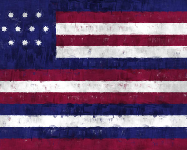 American Flags Poster featuring the digital art Serapis Flag by World Art Prints And Designs