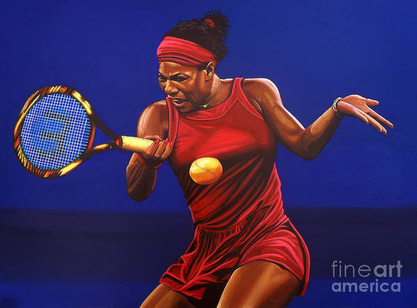 Serena Williams Poster featuring the painting Serena Williams Painting by Paul Meijering