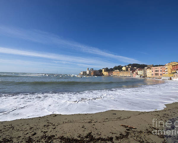 Village Poster featuring the photograph Sestri Levante With Waves by Mats Silvan
