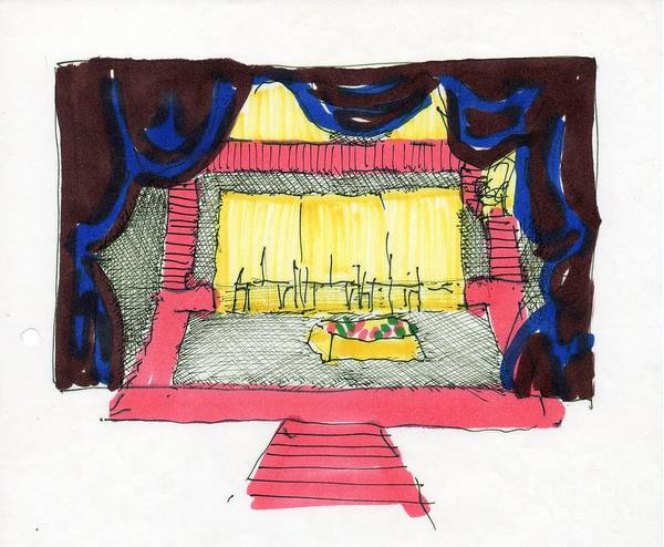 Set Design Poster featuring the drawing Set For The Blacks By Genet by Judith Van Praag
