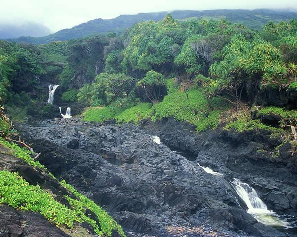 Hawaii Poster featuring the photograph Seven Sacred Pools Haleakala National Park Maui Hawaii by John Burk