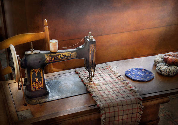 Sew Poster featuring the photograph Sewing - It's Just Black And White by Mike Savad