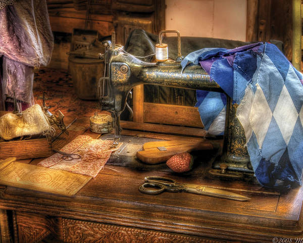 Savad Poster featuring the photograph Sewing Machine - Sewing Machine IIi by Mike Savad