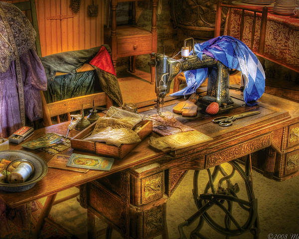 Savad Poster featuring the photograph Sewing Machine - Sewing Machine Iv by Mike Savad