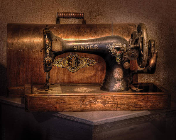 Savad Poster featuring the photograph Sewing Machine - Singer by Mike Savad