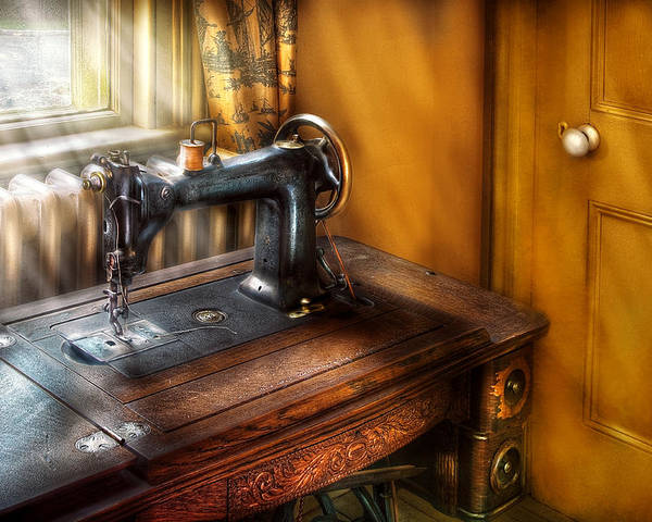 Savad Poster featuring the photograph Sewing Machine - The Sewing Machine by Mike Savad