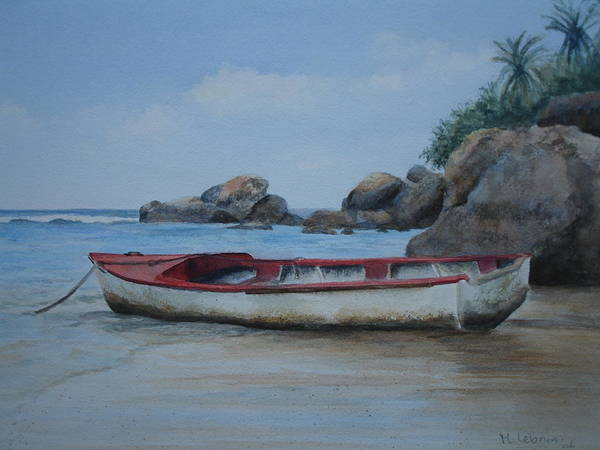 Landscape Poster featuring the painting Seychelles Memories by Maruska Lebrun