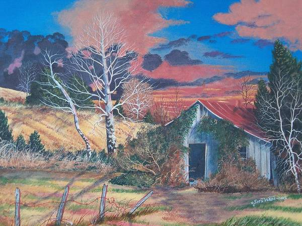 Vine Covered Shack In Sunset With Rust And Gold Fall Colors Poster featuring the painting Shack Of Yesteryear by Seth Wade