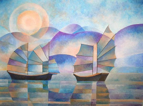 Sailboat Poster featuring the painting Shades Of Tranquility by Tracey Harrington-Simpson