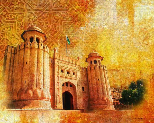 Pakistan Poster featuring the painting Shahi Qilla Or Royal Fort by Catf