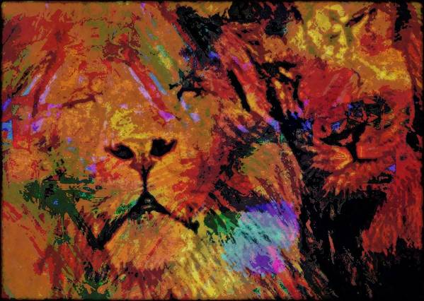 Big Cat Poster featuring the mixed media Sharing The Dream by Wendie Busig-Kohn