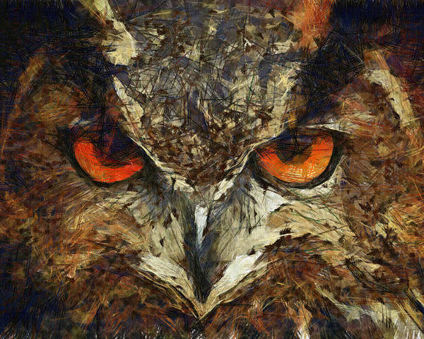 Owl Poster featuring the painting Sharpie Owl by Ayse Deniz