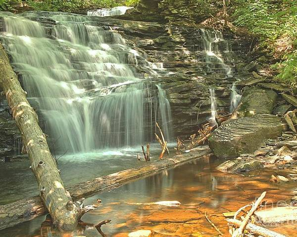 Poster featuring the photograph Shawnee Falls At Ricketts Glen by Adam Jewell