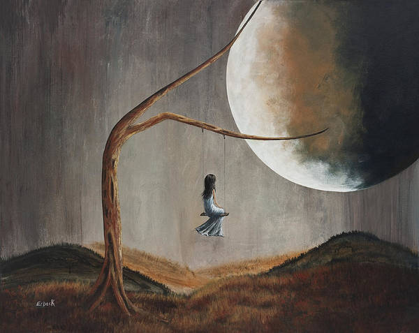 Girl On Swing Poster featuring the painting She Feels Memories By Shawna Erback by Shawna Erback