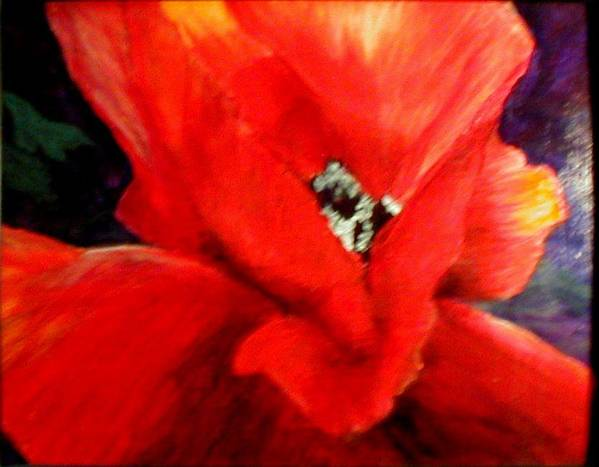 Floral Poster featuring the painting She Wore Red Ruffles by Gail Kirtz