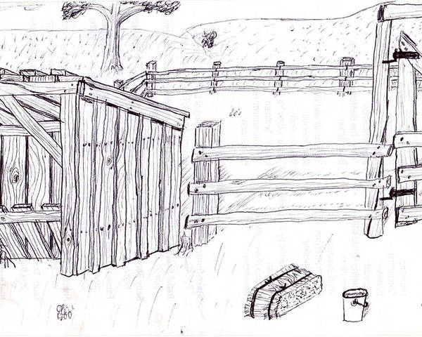 Landscape Poster featuring the drawing Shed 1 by Clark Letellier