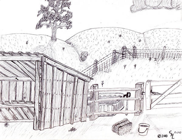 Landscape Poster featuring the drawing Shed 2 by Clark Letellier