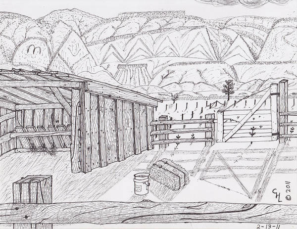 Landscape Poster featuring the drawing Shed 3 by Clark Letellier