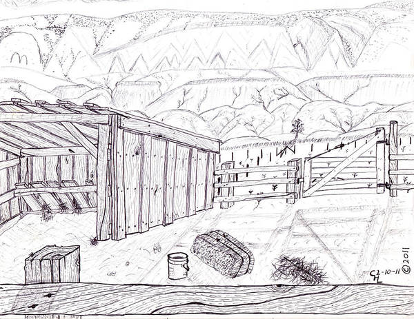 Landscape Poster featuring the drawing Shed 4 by Clark Letellier