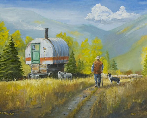 Sheep Poster featuring the painting Sheep Camp by Jerry McElroy