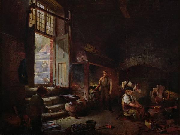 Tilt Hammer Poster featuring the painting Sheffield Scythe Tilters by Godfrey Sykes