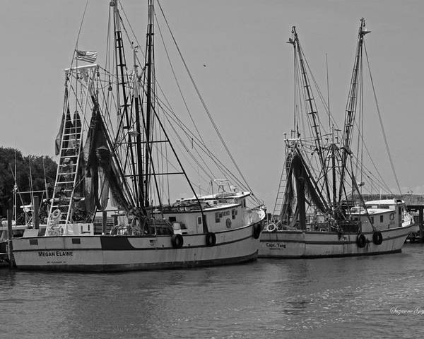Black And White Poster featuring the photograph Shem Creek Shrimpers - Black And White by Suzanne Gaff