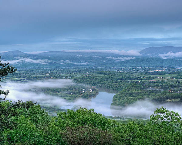 Shenandoah Valley View Poster featuring the photograph Shenandoah Evening Fog by Lara Ellis