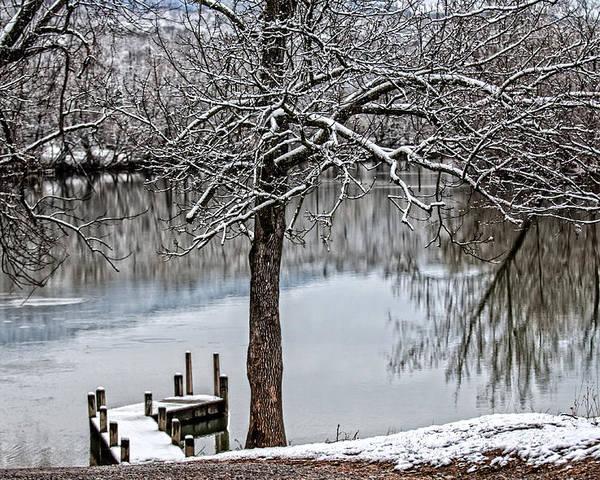 Painterly Shenandoah River Poster featuring the photograph Shenandoah Winter Serenity by Lara Ellis