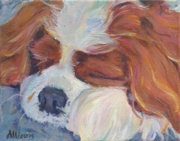 Pets Poster featuring the painting Shh..Charlie's Sleeping by Stephanie Allison