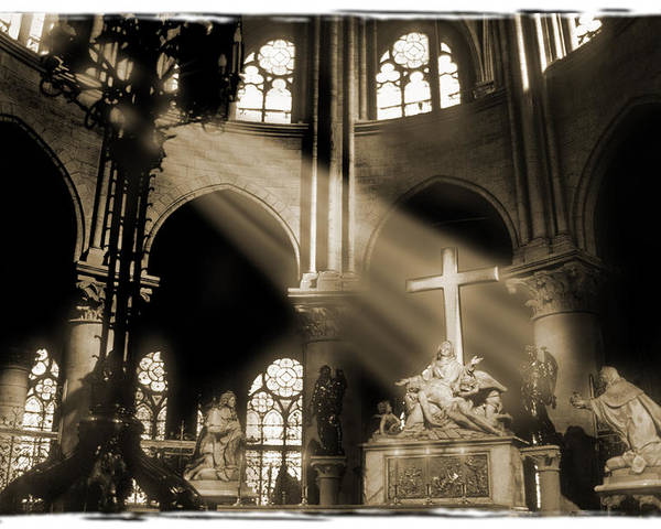 Notre Dame Poster featuring the photograph Shinning Through by Mike McGlothlen