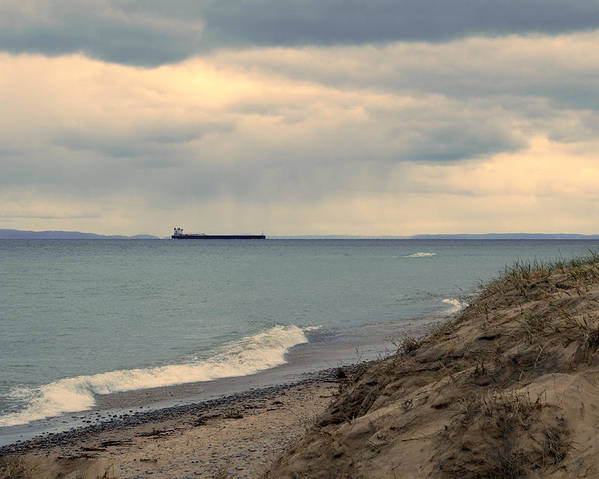 Whitefish Point Poster featuring the photograph Ship On The Horizon by Linda Kerkau