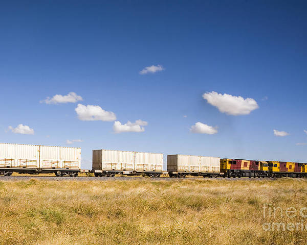 Australia Poster featuring the photograph Shipping Containers On The Move By Train by Colin and Linda McKie