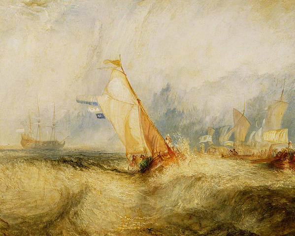 Boat Poster featuring the painting Ships A Sea Getting A Good Wetting by Joseph Mallord