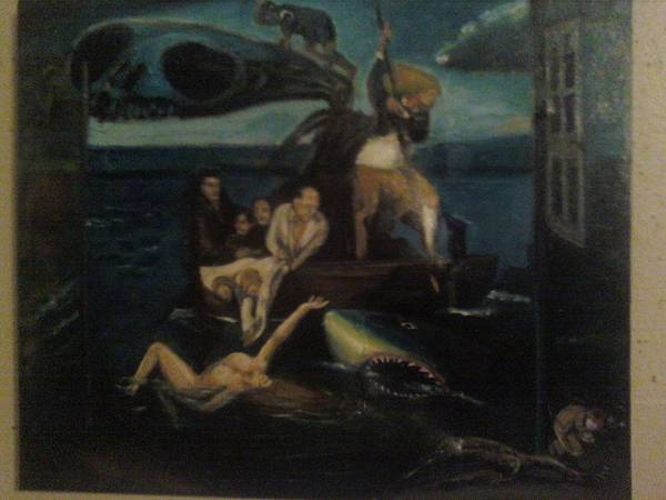 Poster featuring the painting Shipwrecked Psyche Unfinished by Jude Darrien