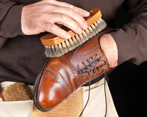 Shoeshine Poster featuring the photograph Shoe Polisher by Joe Belanger