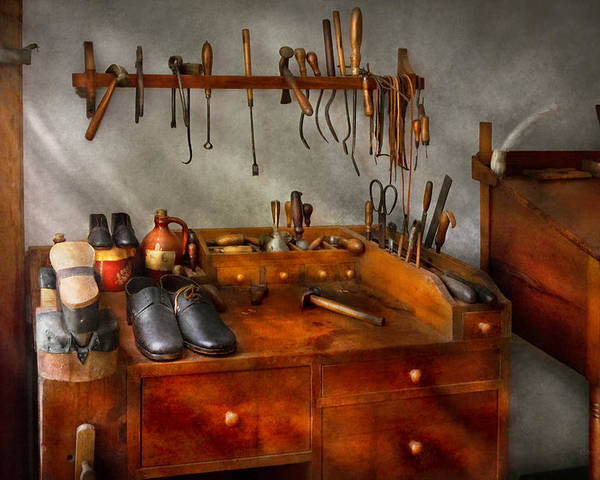 Self Poster featuring the photograph Shoemaker - The Cobblers Shop by Mike Savad