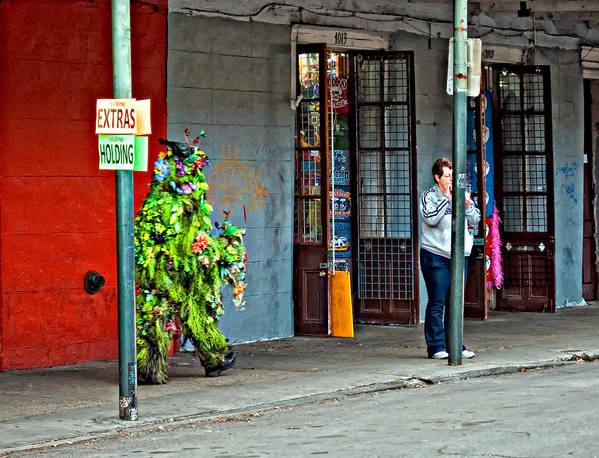 French Quarter Poster featuring the photograph Shrubman On The Move by Steve Harrington