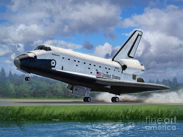 Space Poster featuring the digital art Shuttle Endeavour Touchdown by Stu Shepherd