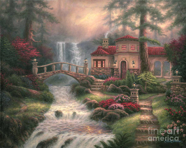 Tuscan Poster featuring the painting Sierra River Falls by Chuck Pinson